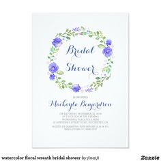 watercolor floral wreath bridal shower