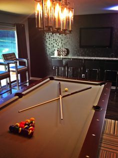 Loving the Brunswick Billiards table for the latest #PropertyBrothers game room reveal!! #SneakPeek
