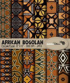 AFRICAN indigo Patterns pack of 12 - Africa - digital paper scrapbook - print Pack de 12 motifs Afri African Interior, African Home Decor, African Textiles, African Fabric, African Patterns, African Mud Cloth, African Design, African Art, African Prints