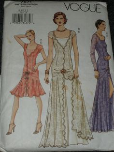 Vogue pattern 7571 evening gown cocktail dress 1920's style 8 10 12. $10.00, via Etsy.