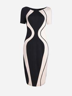 #AdoreWe #FashionMia Bodycon Dresses - FashionMia Round Neck Color Block  Split Bodycon Dress -