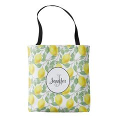 Yellow Lemons with Green Leaves Pattern Monogram Tote Bag - monogram gifts unique custom diy personalize