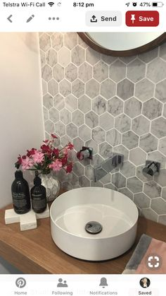 58 new ideas for bathroom grey walls honeycomb tile - bathroom Hexagon Tiles, Marble Bathroom, Trendy Bathroom, Pretty Bathrooms, Bathroom Layout, Half Bathroom, Bathroom Backsplash, Honeycomb Tile, Beautiful Bathrooms