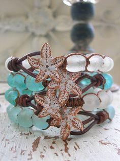 Summer wrap bracelet - Beachcomber - Boho beach jewelry sea life ocean leather bracelet sea glass starfish nautical frosted chunky bracelet