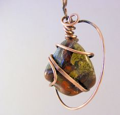 Wire Wrapped Pendant with Dragons Bloodstone - Copper Pendant - Copper Jewelry - Wire Jewelry