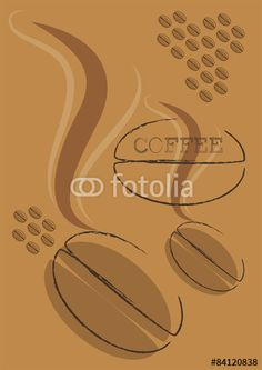 vector coffee background with coffee word and coffee beans