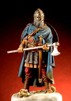 Viking warrior figurine. Although very realistic, such eleborate armour was very rare. However, the Vikings who had travelled to CONSTTANTINOPEL, and served in the Varangian guard, were equipped with such chainmail, and helmets.
