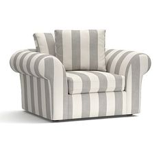 U Shaped Chair Slipcovers King Backyard Store 2103 Best Sofa Sectional Collections Pb Air Images Roll Arm Slipcovered Armchair Deluxe Down Blend Wrapped Cushions Premium Performance Awning Stripe Oatmeal Ivory