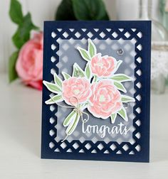 Congrats card by Dawn Woleslagle for Wplus9 featuring Pretty Peonies stamps and dies and the Lattice Frame die.