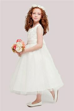 Beautiful Ivory Sleeveless Satin Dress with Flower Embroidered Bodice & Tulle Skirt -