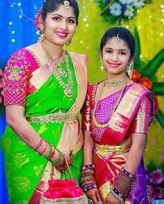 Bridal Silk Saree, Silk Sarees, Lehenga Saree Design, Mother Daughter Dresses Matching, Maggam Works, Simple Blouse Designs, Fancy Sarees, Blouse Patterns, Indian Bridal