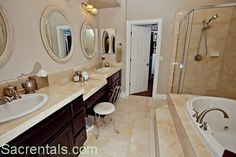 vanity with double sinks and makeup area | His and hers vanities + makeup vanity - Jetted spa tub