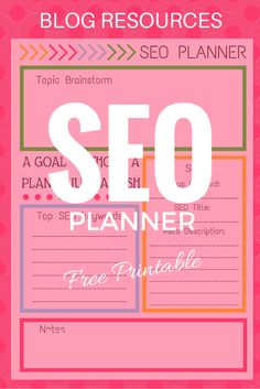 Free SEO Planner printable for your blog! Planning blog posts have never been this easy. Drive more traffic to your blog with this SEO planner. Free blog printable. SEO for blogs.