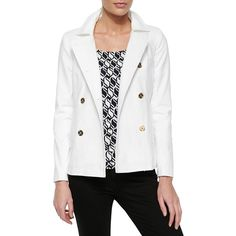 MICHAEL Michael Kors Double-Weave Mod Pea Coat ($95) ❤ liked on Polyvore featuring outerwear, coats, white, white peacoat, michael michael kors coat, double breasted peacoat, double breasted pea coat and peacoat coat