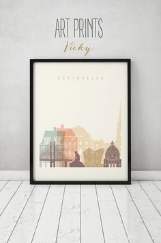 Copenhagen print, Poster, Wall art, Copenhagen Denmark skyline, City poster, Typography art, Home Decor, Digital Print, ART PRINTS VICKY.