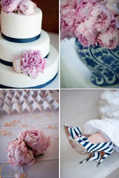 Pink peonies and blue and white porcelain - Our pink, white and navy wedding