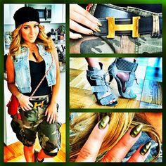 Adrienne Bailon Alexander Wang Camo Shorts Pants I LOVE this street look with contemerary clothing! Adrienne Bailon, Fashion Killa, Fashion Beauty, Style Tumblr, Urban Fashion, Womens Fashion, Camo Fashion, High Fashion, Celebrity Look
