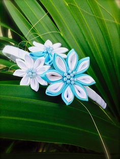 Kanzashi Flowers Headband by NellasCreations on Etsy, $11.99