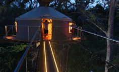 Stay the night in a treehouse that can only be reached by zip line. Cypress Valley Canopy Tours | Austin, Texas