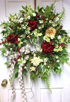Spring Summer Wreath for Front Door, Floral Door Wreath, Spring Outdoor Wreath, Mothers Day Gift