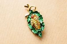 Vintage Christmas Brooch / Holly Pinecone Pin Brooch Vintage Enameled signed: Gerry