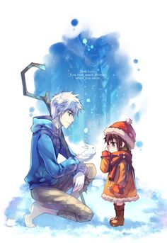 Jack Frost and a little girl that looks like Yuki Cross from Vampire Knight ^_^