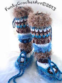 $50 Crochet+Slipper+Boots/+Leg+Warmer+Combo+Awesome+by+FunkyCrochetArt,+$50.00