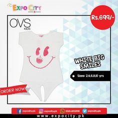 Product: White Big Smiles  Brand: Ovs Kids  Price: Rs. 699  #Children #Girls #Dress #Shirts #Tshirts Tops #Karachi #Lahore #Islamabad #OnlineShopping #ExpoCity #Kids #BabyGirls #CashOnDelivery #Apparel #PartyWear #Pakistan #PakistanShopping #Stylish #Plain #Casual #Colorful #OvsKids