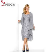 Hot Selling Plus Size Silver Lace Mother of the Bride Dresses with Jacket Knee Length Bride Mother Dresses for Weddings