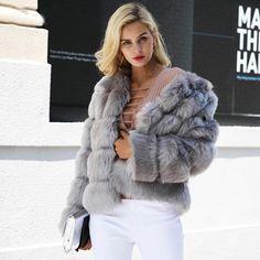URBAN MIST Multi Shaggy Mongolian Faux Fur Gilet Luxury Women/'s Winter Outwear