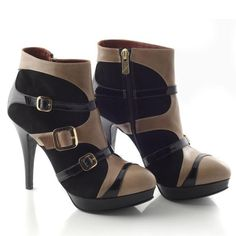 Chaniotakis shoe 1094 in black nubuc and beige leather for 189€.