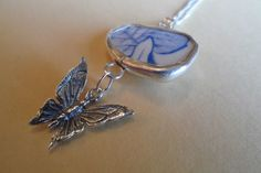Floral Sea Pottery Sterling Silver Set Butterfly Pendant Necklace OOAK £22.95