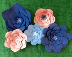 Large Paper Flower Back Drop set of 5, Blue and Pink Baby Shower Gender Reveal Decor, Giant Paper Flower Wall Decor, Blue & Pink Photo Prop