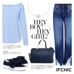 """3X1 Higher Ground Boyfriend Distressed Cropped jeans"" by ifchic ❤ liked on Polyvore featuring Joshua's, Karen Walker, Ruifier and contemporary"