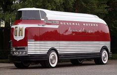 """General Motors ""Parade of Progress"" Bus"" ~retro-futurism Vintage Trailers, Vintage Cars, Antique Cars, Retro Vintage, General Motors, Cool Trucks, Big Trucks, Chevy Trucks, Classic Trucks"