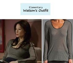 """June 30, 2013 Lucy Liu as Joan Watson in Elementary - """"Details"""" (Ep. 116). Watson's Top: Rag & Bone Long Sleeve Top with Contrast Piping $115 $81 here 