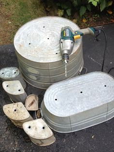 drill holes in galvanized tubs to turn them into flowerpots!
