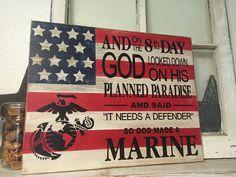 Marine Corps Flag Marine Defender by iSTICKerTHAT on Etsy