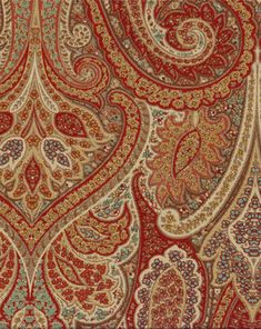 Soft, multi-purpose traditional fabric featuring large paisley designs printed on a fine but durable twill base. Very soft hand. Colors include red, gold, natural, brown, coral, and turquoise. 42,000 Double Rubs. This fabric is perfect for curtains and draperies, couch and chair upholstery, bedding (duvet covers, comforters, etc.), slipcovers, cornices, pillows, and much more. Soft-medium drape.