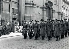 The church of St. Cyril and Methodius on 28 Sept. 1947. First on the left if Maj. Jaromír Nechansky, commander of Operaton Platinum-Pewter, was executed by the communists in 1950.