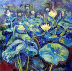 Chanticleer Garden Lotus Pond  Evening Oil by MoniqueKenSarkessian, $1200.00