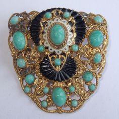 Vintage Art Deco Max Neiger Filigree Green Black Glass Enamel Dress Clip #MaxNeigerunsigned