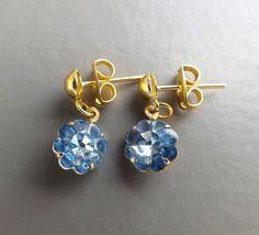 Vintage 80s Rivoli blue diamante earrings .. small gold tone glass rhinestone