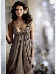 Stone A-line V-neck Tea-length Chiffon Cocktail / Homecoming / Wedding Party Dress - Didobridal