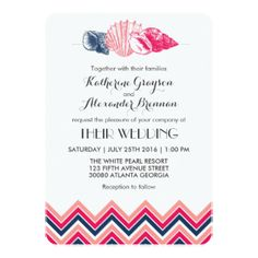 "Vintage Chevron Seashells Beach Wedding Invitation 5"" X 7"" Invitation Card"