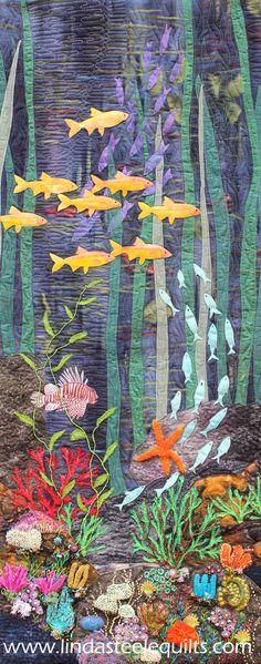 34 Super Ideas For Embroidery Machine Quilting Thread Painting Ocean Quilt, Fish Quilt, Quilting Designs, Quilting Projects, Quilting Templates, Quilting Ideas, Blog Art, Landscape Art Quilts, Art Diy