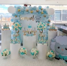 Baby boy shower, boy baptism, baptism party, baby party, boys first birthda Baby Shower Balloons, Baby Shower Games, Baby Boy Shower, Shower Party, Baby Shower Parties, Baby Birthday, Birthday Parties, Decoration Buffet, Baby Party