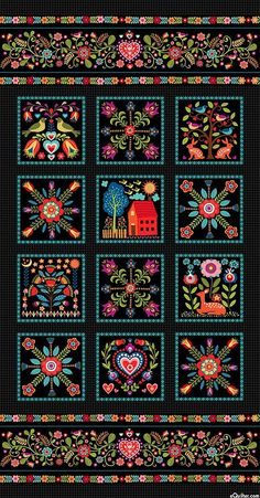 """Pieceful Gathering - Scandinavian Welcome - 24"""" x 44"""" PANEL - Quilt Fabrics from www.eQuilter.com"""