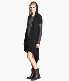 Long, fine-knit cardigan with imitation leather sleeves and hood, Hooded Cardigan, Long Cardigan, Knit Cardigan, H&m Online, Cool Sweaters, Sweater Coats, Clothing Items, Fashion Online, Kids Fashion