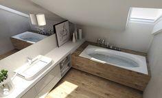 Bathroom Tub Shower, Loft Bathroom, Dream Bathrooms, Bathroom Interior, Interior Design Living Room, Small Bathroom, Attic Design, Loft Room, Modern House Plans